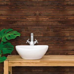 Adesivo de Parede para Banheiro Papel de Parede Madeira 0001