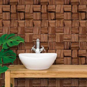 Papel de Parede para Banheiro Adesivo de Parede Madeira 0013