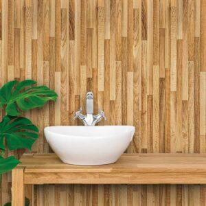 Adesivo de Parede para Banheiro Papel de Parede Madeira 0019