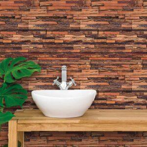 Papel de Parede para Banheiro Adesivo de Parede Madeira 0029