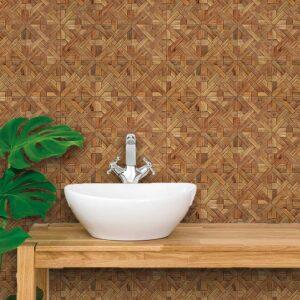 Papel de Parede para Banheiro Adesivo de Parede Madeira 0052