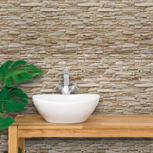 Adesivo de Parede para Banheiro Papel de Parede Pedras 0084